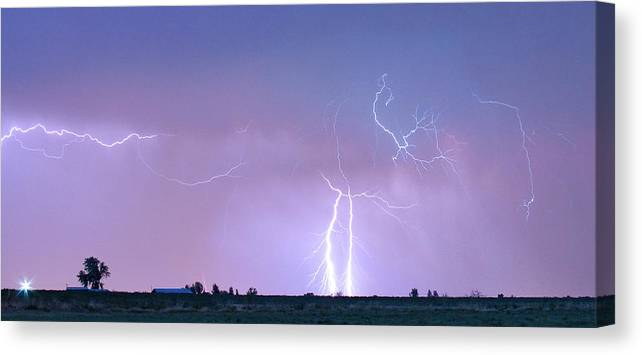 Lightning Canvas Print featuring the photograph Thunderstorm On The Colorado Plains Panorama by James BO Insogna