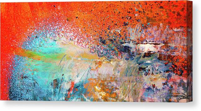 Big Shot Orange And Blue Colorful Happy Abstract Art Painting Canvas Print