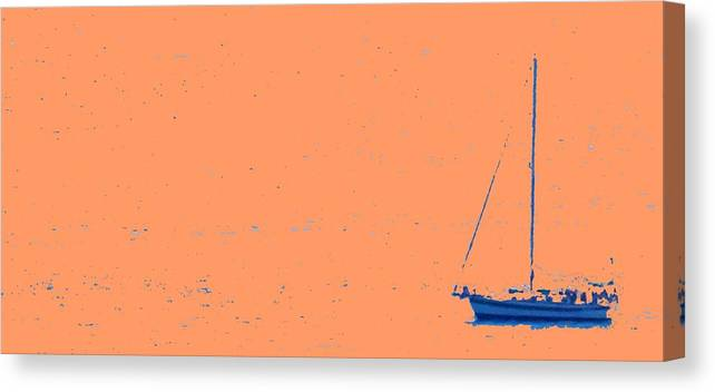 Boat Canvas Print featuring the photograph Boat On An Orange Sea by Ian MacDonald