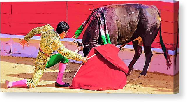 Matador Canvas Print featuring the photograph Matador On Knees by Clarence Alford