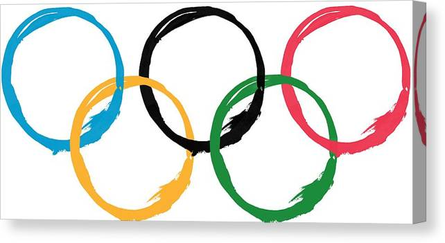 Olympics Canvas Print featuring the digital art Olympic Ensos by Julie Niemela