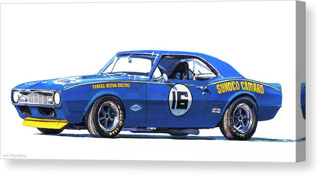 Camaro Canvas Print featuring the painting Sunoco Camaro Z28 by David Lloyd Glover