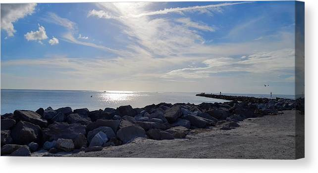 Rocks Canvas Print featuring the photograph The Jetty by Ric Schafer