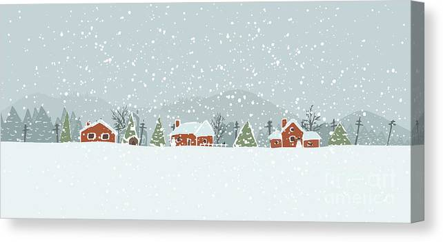 Small Canvas Print featuring the digital art Winter Background With A Peaceful by Artem Musaev