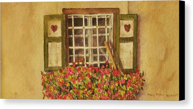 Rural Canvas Print featuring the painting Farm Window by Mary Ellen Mueller Legault