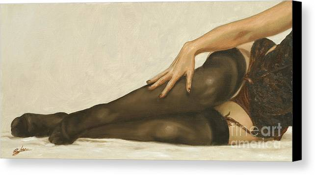 Erotic Canvas Print featuring the painting Lingerie II by John Silver