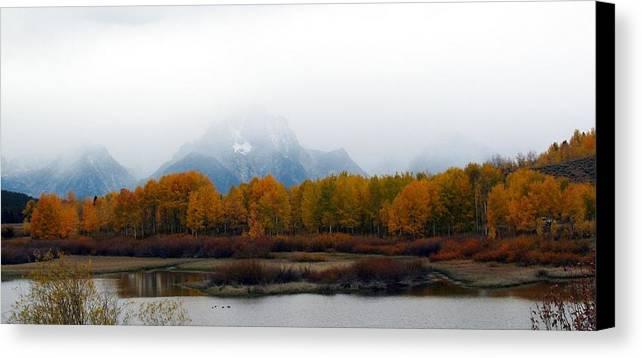 Fall Canvas Print featuring the photograph Mystic Grand Teton by Carol Montoya