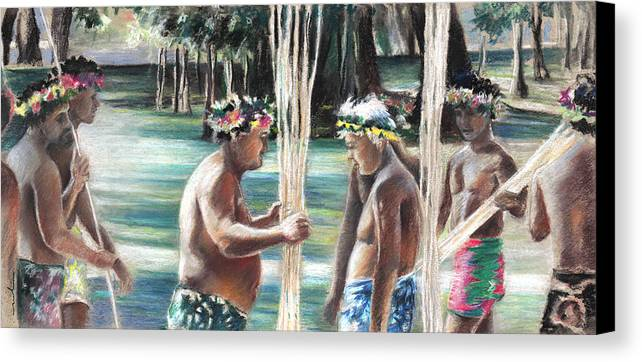 Travel Canvas Print featuring the painting Polynesian Men With Spears by Miki De Goodaboom