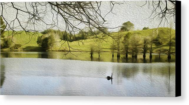 Swan Canvas Print featuring the digital art Swan Lake by Les Cunliffe