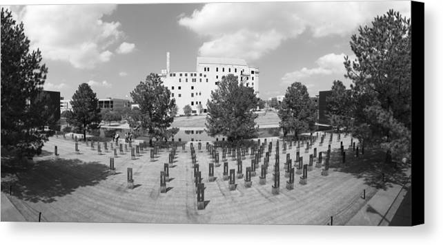 National Canvas Print featuring the photograph Oklahoma City National Memorial Black And White by Ricky Barnard