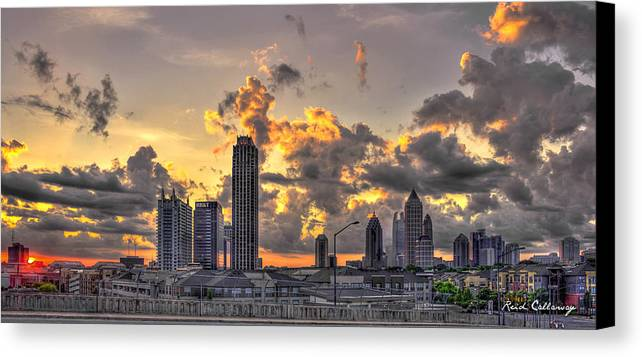 Reid Callaway Sunset Canvas Print featuring the photograph Atlanta Sunrise On Atlantic Station Commons And Midtown Atlanta by Reid Callaway