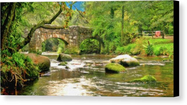 Dean Wittle Canvas Print featuring the painting Fingle Bridge - P4a16013 by Dean Wittle