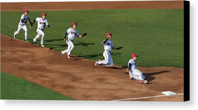 Baseball Canvas Print featuring the photograph Flying To Third by Art Cole