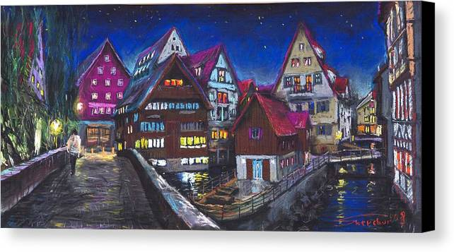 Pastel Canvas Print featuring the painting Germany Ulm Fischer Viertel by Yuriy Shevchuk