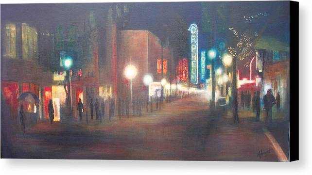 Downtown Canvas Print featuring the painting Glow by Victoria Heryet