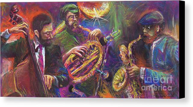 Jazz Canvas Print featuring the painting Jazz Jazzband Trio by Yuriy Shevchuk