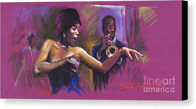 Jazz Canvas Print featuring the painting Jazz Song.2. by Yuriy Shevchuk