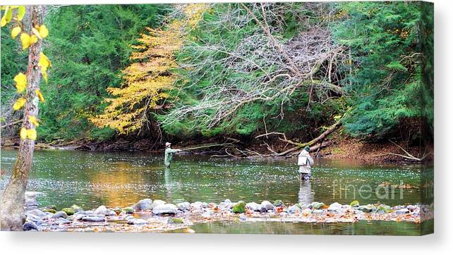 Mohican Canvas Print featuring the photograph Mohican Fly Fishermen by Patti Smith