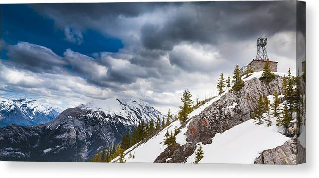 Banff Canvas Print featuring the photograph Sulphur Mountain Up High by Chris Halford