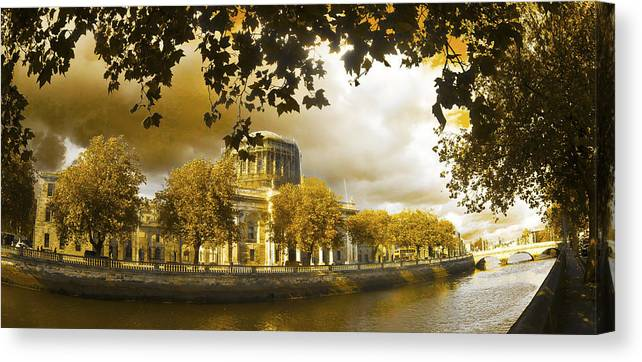 The Four Courts In Reconstruction Canvas Print featuring the photograph The Four Courts In Reconstruction Sepia by Alex Art and Photo