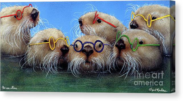 Will Bullas Canvas Print featuring the painting The See Otters... by Will Bullas