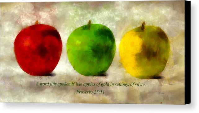 Apple Canvas Print featuring the mixed media An Apple A Day With Proverbs by Angelina Vick