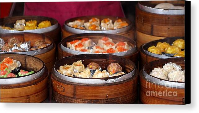 Cantonese Canvas Print featuring the photograph Bamboo Steamers With Dim Sum Dishes by Yali Shi