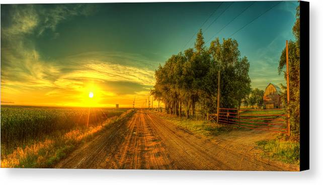 Sunrise Canvas Print featuring the photograph Country Sunrise by Caleb McGinn