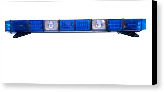 Ambulance Canvas Print featuring the photograph Isolated Police Emergency Light Roof Bar by Fizzy Image