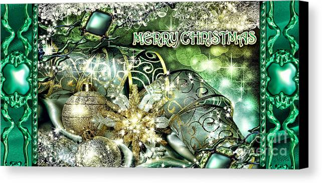 Merry Christmas Canvas Print featuring the digital art Merry Christmas Green by Mo T