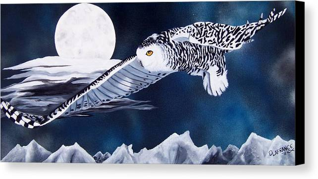 Owl Canvas Print featuring the painting Snowy Flight by Debbie LaFrance