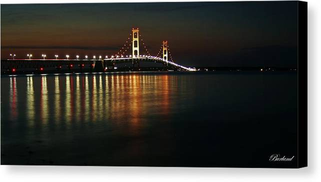 Water Canvas Print featuring the photograph Nighttime Over Mackinac Straits by Burland McCormick