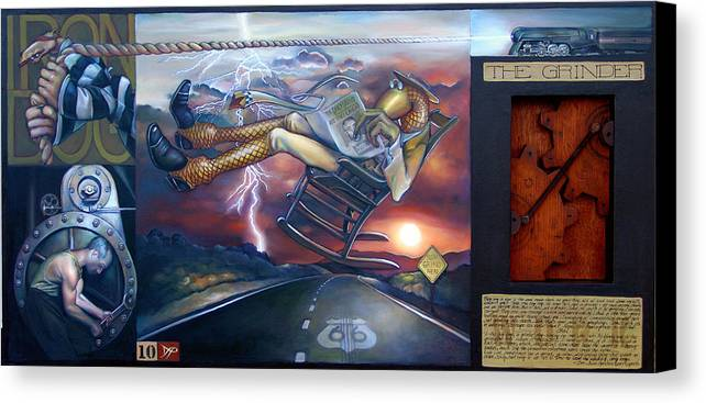 Gear Canvas Print featuring the painting The Grinder by Patrick Anthony Pierson