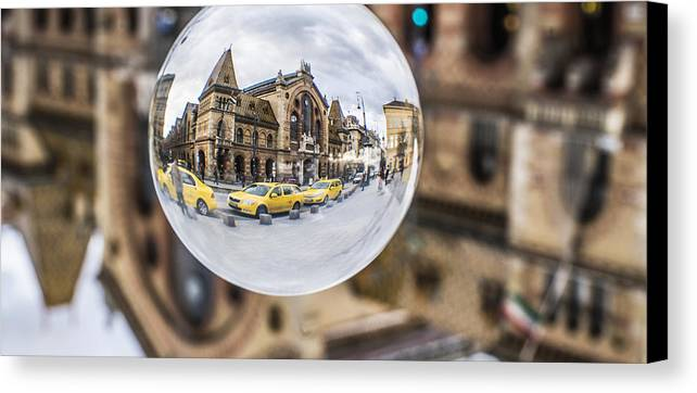 Budapest Canvas Print featuring the photograph Budapest Globe - Great Market Hall by Gabor Tokodi