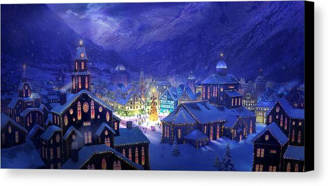 Christmas Canvas Print featuring the painting Christmas Town by Philip Straub