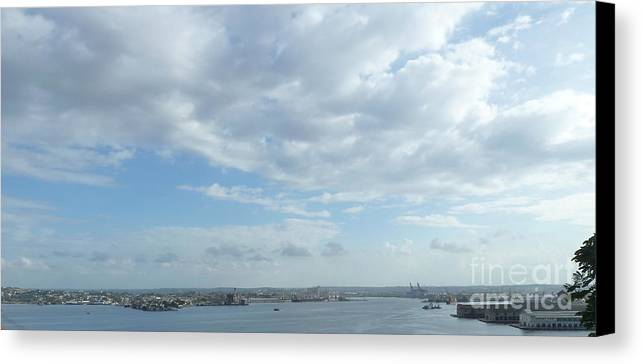 Photography Canvas Print featuring the digital art Cuba City And River View by Francesca Mackenney