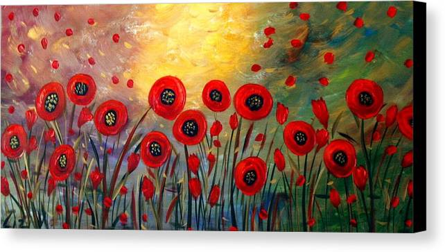 Flowers Canvas Print featuring the painting Fall Time Poppies by Luiza Vizoli