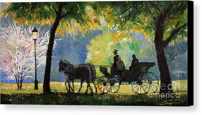 Oil Canvas Print featuring the painting Germany Baden-baden Lichtentaler Allee Spring by Yuriy Shevchuk