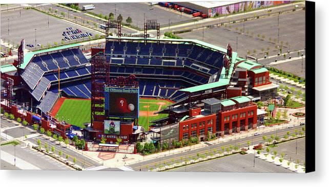 Aerial Photograph Canvas Print featuring the photograph Phillies Citizens Bank Park Philadelphia by Duncan Pearson