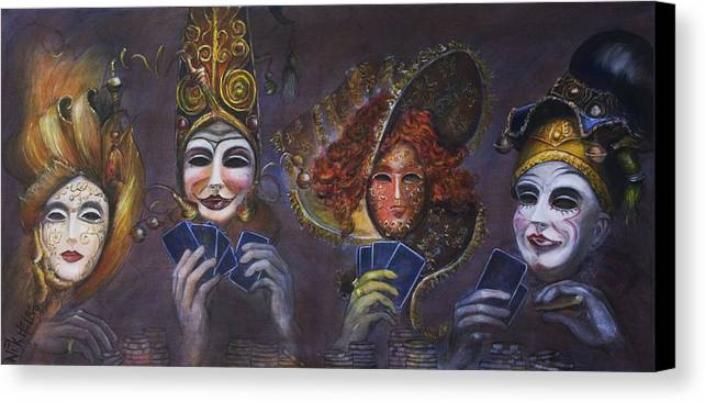 Masks Canvas Print featuring the painting Poker Face by Nik Helbig