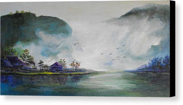 River Canvas Print featuring the painting Riverscape No 5 by Min Wang