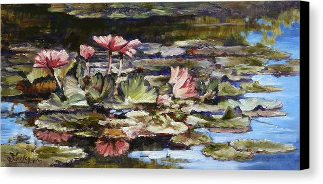 Waterlilies Canvas Print featuring the painting Waterlilies Tower Grove Park by Irek Szelag