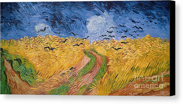 Landscape;post-impressionist; Summer; Wheat; Field; Birds; Threatening; Sky; Cloud; Post-impressionism Canvas Print featuring the painting Wheatfield With Crows by Vincent van Gogh