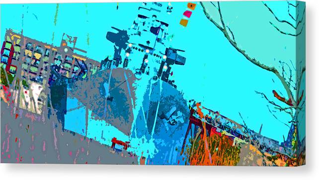 Canvas Print featuring the digital art Battleship North Carolina by Chick Phillips