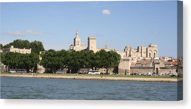 City Canvas Print featuring the photograph Avigon View From River Rhone by Christiane Schulze Art And Photography