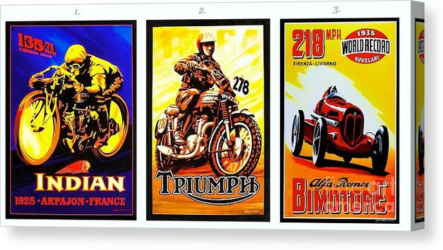 Pd Canvas Print featuring the painting Racing Poster by Pg Reproductions