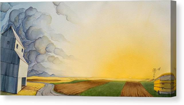 Great Plains Art Canvas Print featuring the painting Storm And Sunset II by Scott Kirby