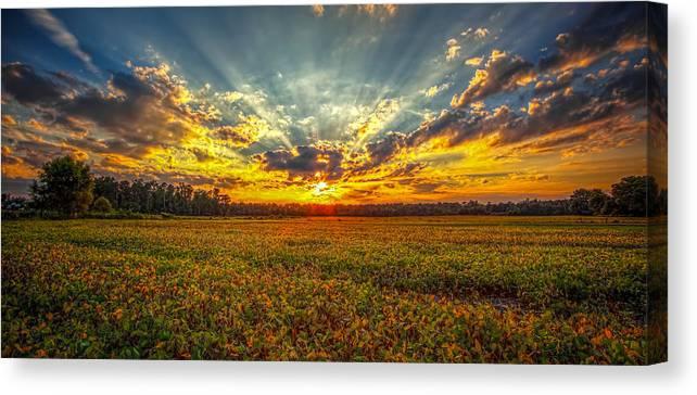Sunset Canvas Print featuring the photograph Sunset Over Field by Robert Mullen