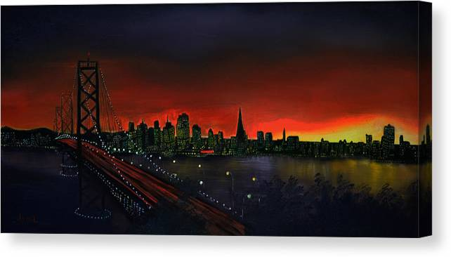 San Francisco Canvas Print featuring the painting The City By The Bay by Jamil Alkhoury