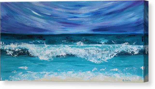 Seascape Canvas Print featuring the painting Breaking Waves by Anchen Martin